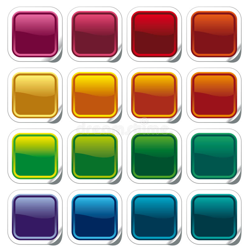 Tasti brillanti di colore sugli autoadesivi royalty illustrazione gratis