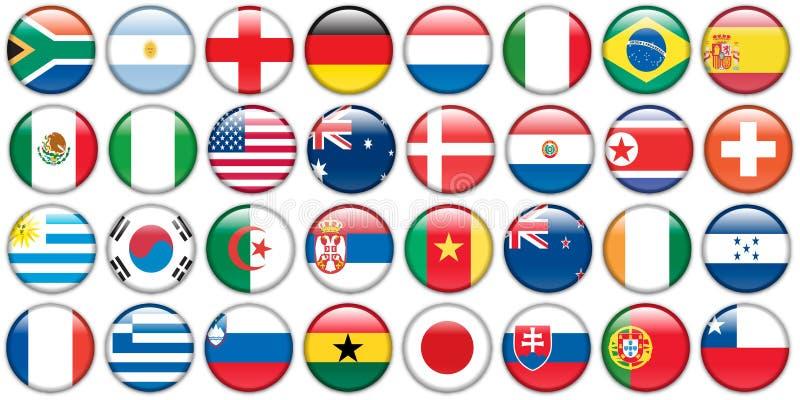 Tasti degli autoadesivi delle bandiere nazionali illustrazione di stock