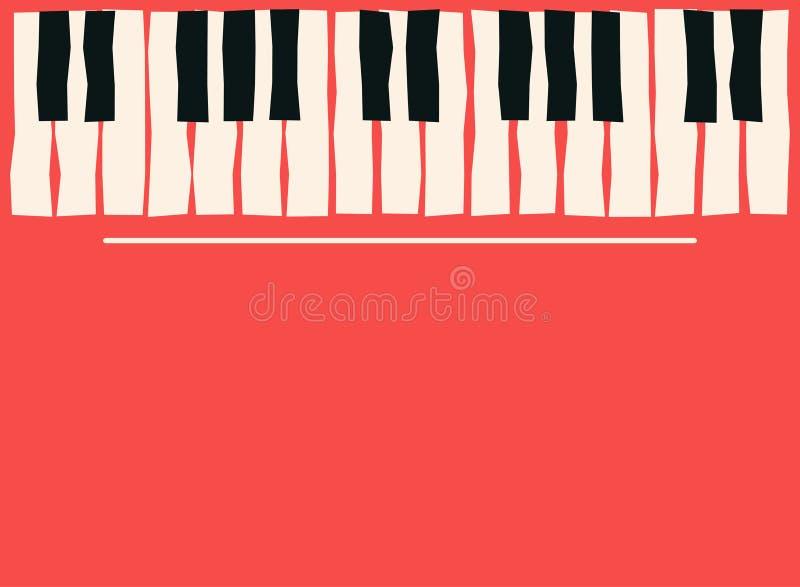 Tasti del piano Modello del manifesto di musica Fondo di concerto di musica dei blu e di jazz illustrazione di stock