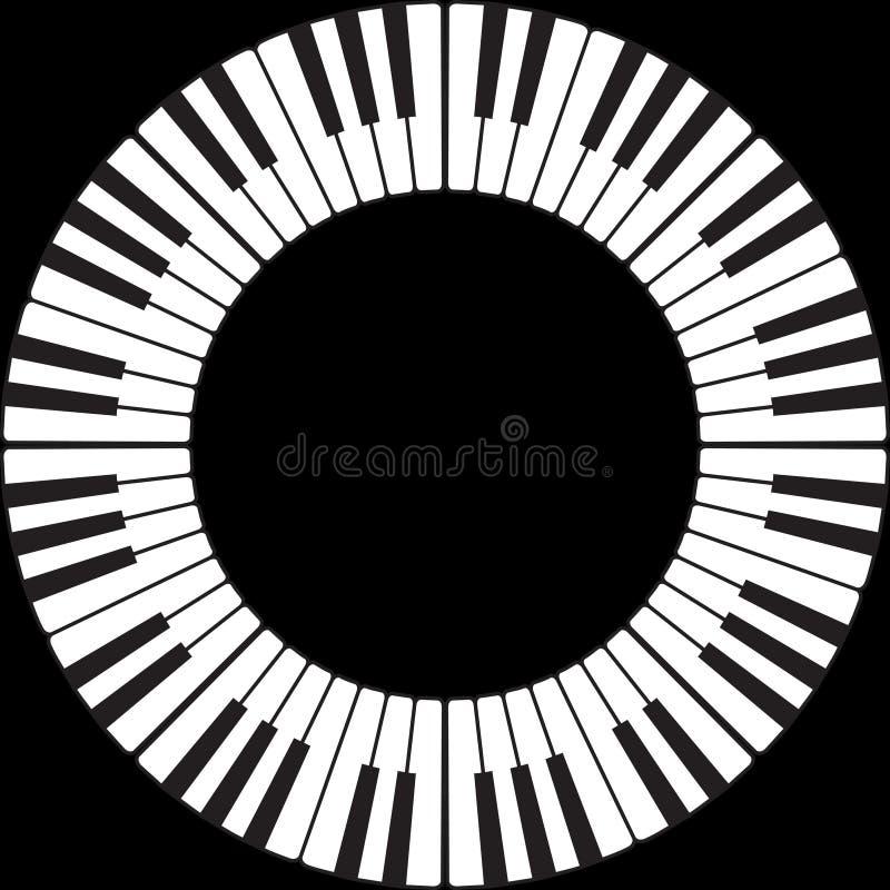 Tasti del piano in un cerchio illustrazione di stock
