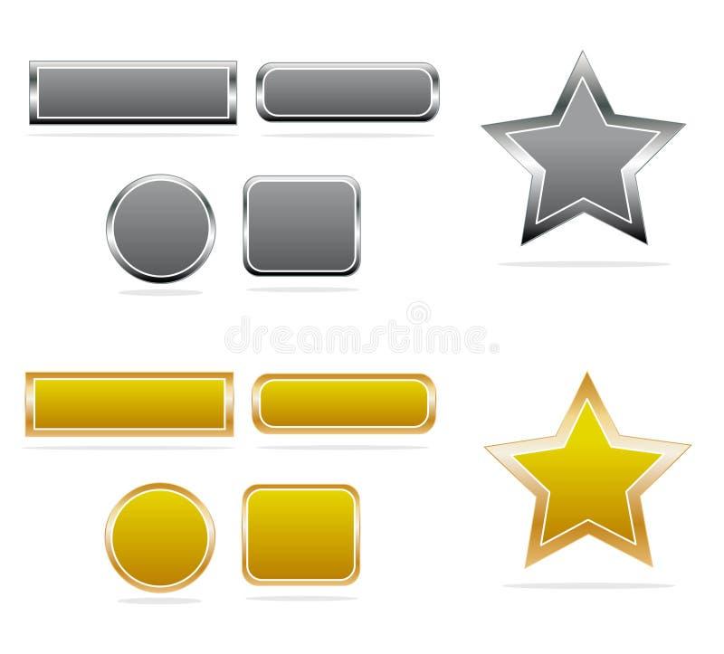 Tasti dell'argento & dell'oro illustrazione vettoriale