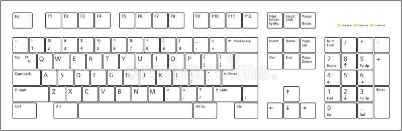Tasti della disposizione di tastiera 101 illustrazione vettoriale