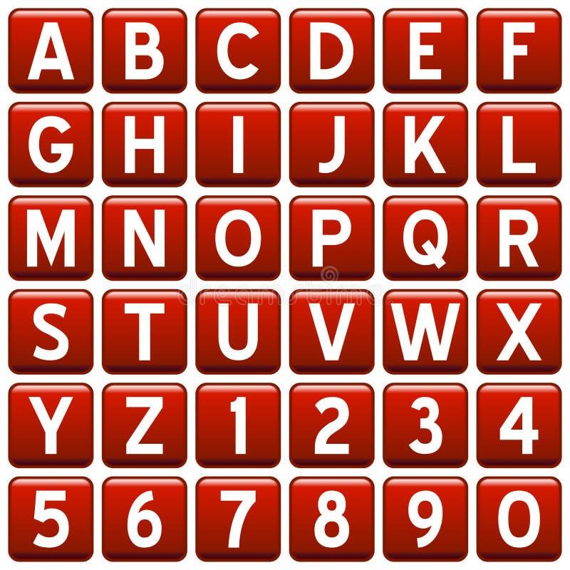 Tasti di alfabeto del quadrato rosso