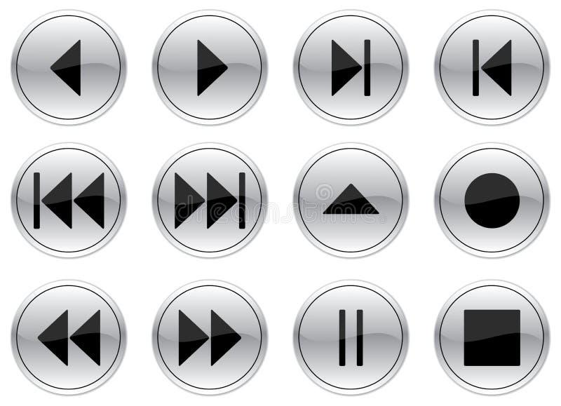 Tasti di multimedia impostati. illustrazione vettoriale