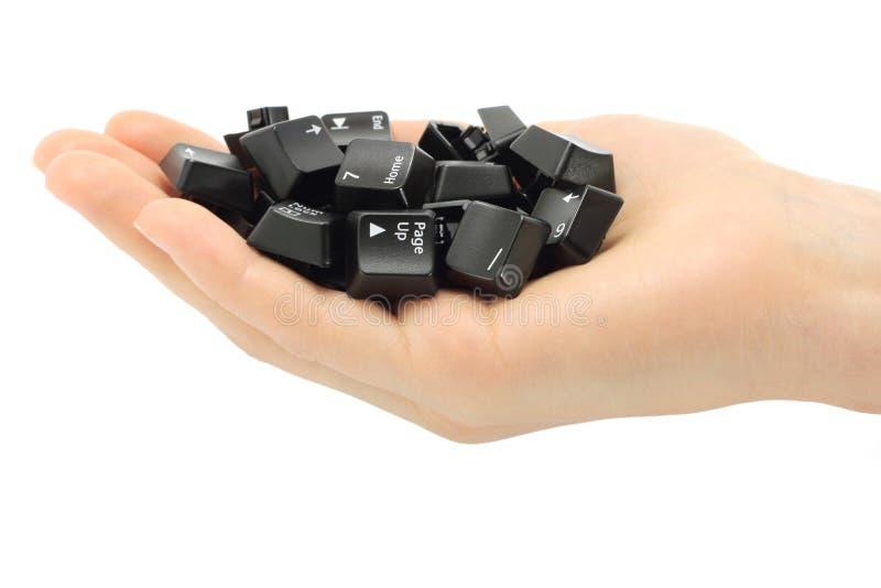 Tasti di tastiera umani del calcolatore tenuto in mano immagini stock