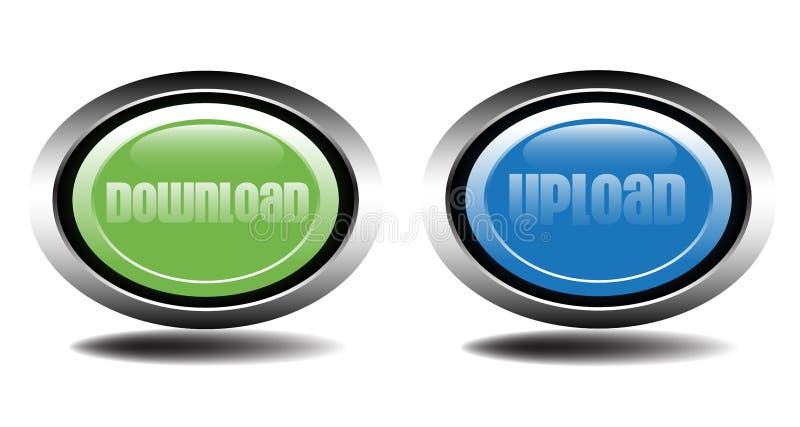 Tasti di upload e di trasferimento dal sistema centrale verso i satelliti illustrazione di stock