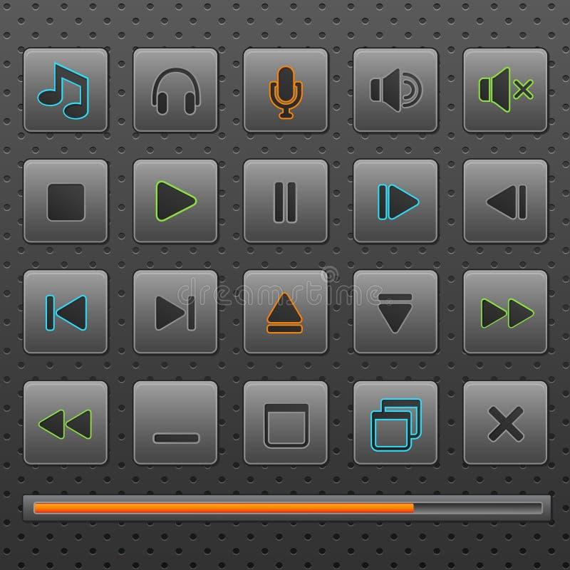 Tasti di Web del giocatore ed icone di comandi di musica, insieme. illustrazione di stock