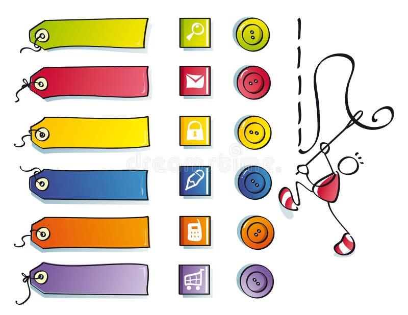 Tasti divertenti e simboli per il Web di cucito illustrazione vettoriale
