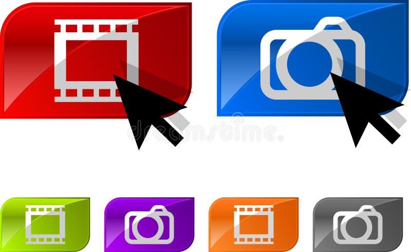 Tasti lucidi del video della foto illustrazione vettoriale