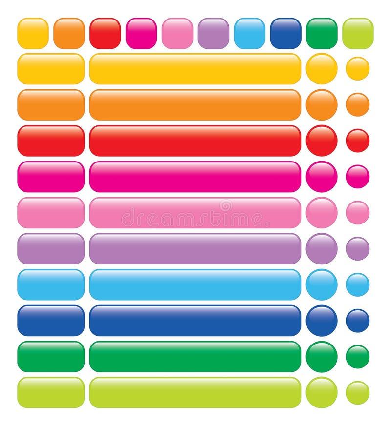 Tasti lucidi di Web del Rainbow illustrazione di stock
