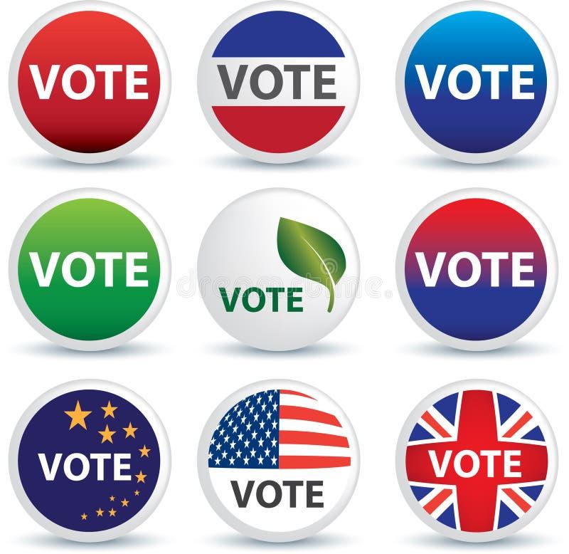 Tasti o distintivi di voto illustrazione di stock