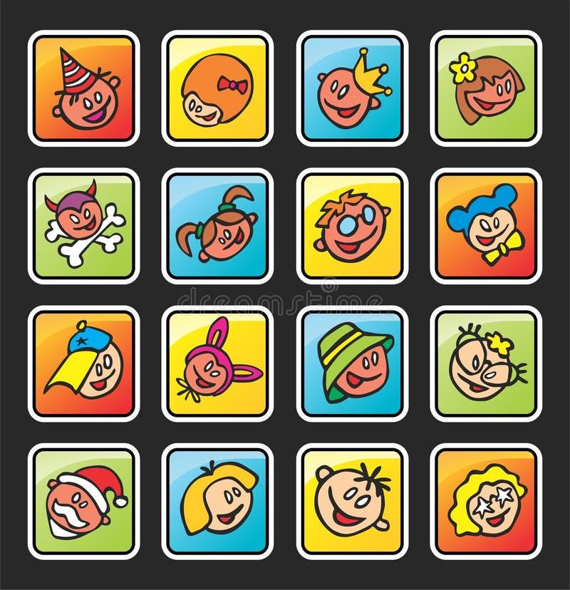 Tasti quadrati con i fronti dei bambini illustrazione vettoriale