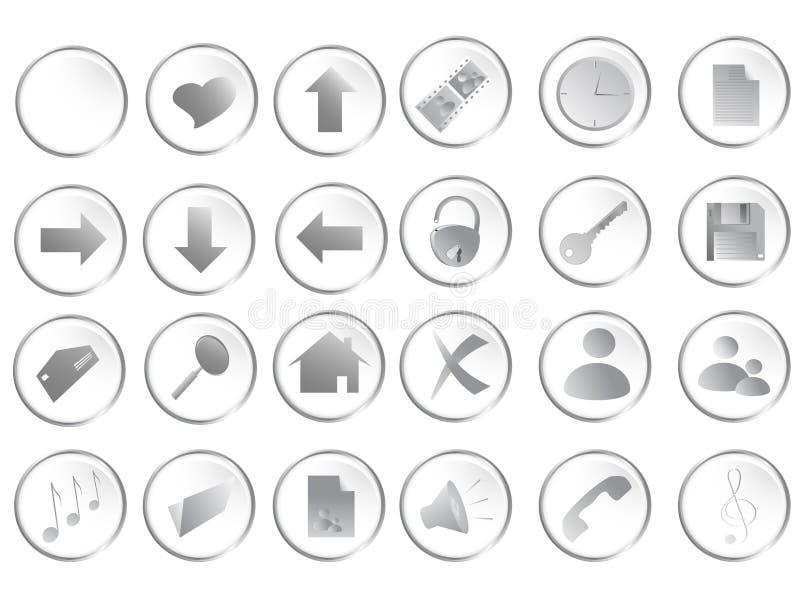 Tasti rotondi bianchi di Web impostati illustrazione di stock