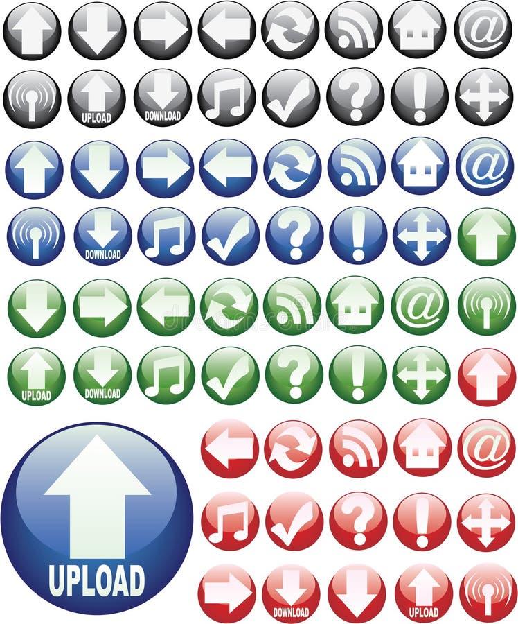 Tasti rotondi vetrosi di Web illustrazione di stock
