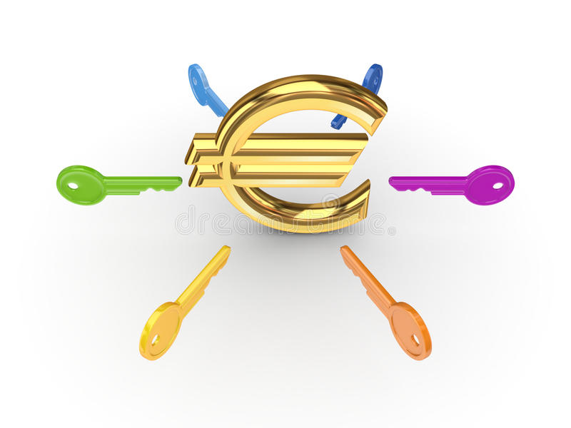 Tasti variopinti intorno all'euro simbolo. royalty illustrazione gratis