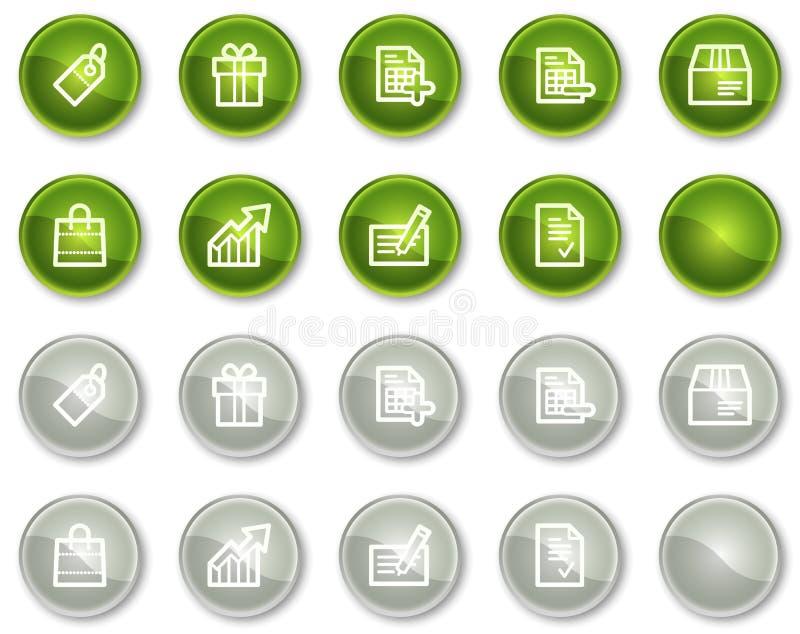 Tasti verdi e grigi delle icone di Web di acquisto, del cerchio illustrazione di stock