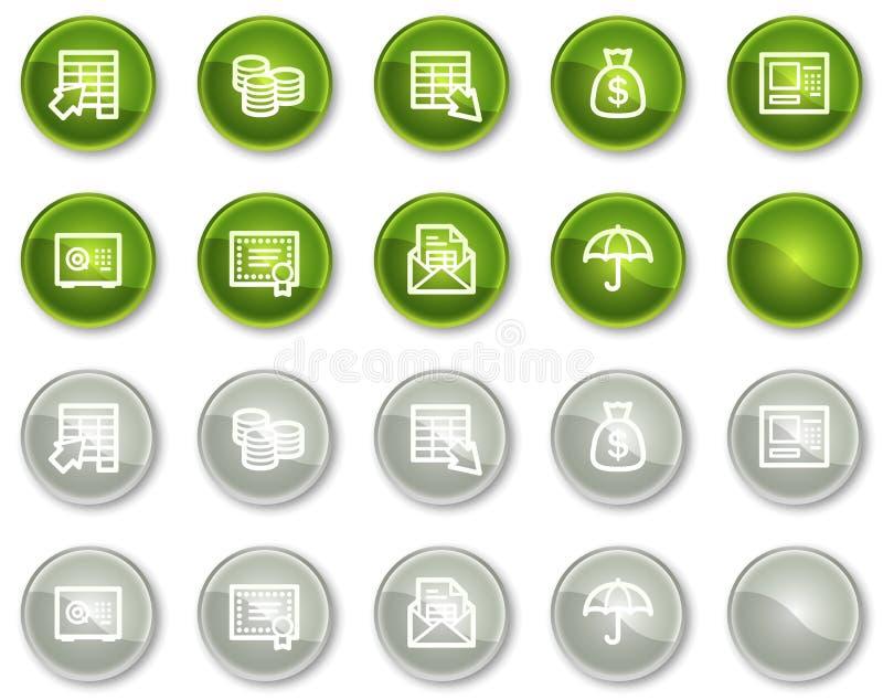 Tasti verdi e grigi delle icone di Web di attività bancarie, del cerchio royalty illustrazione gratis