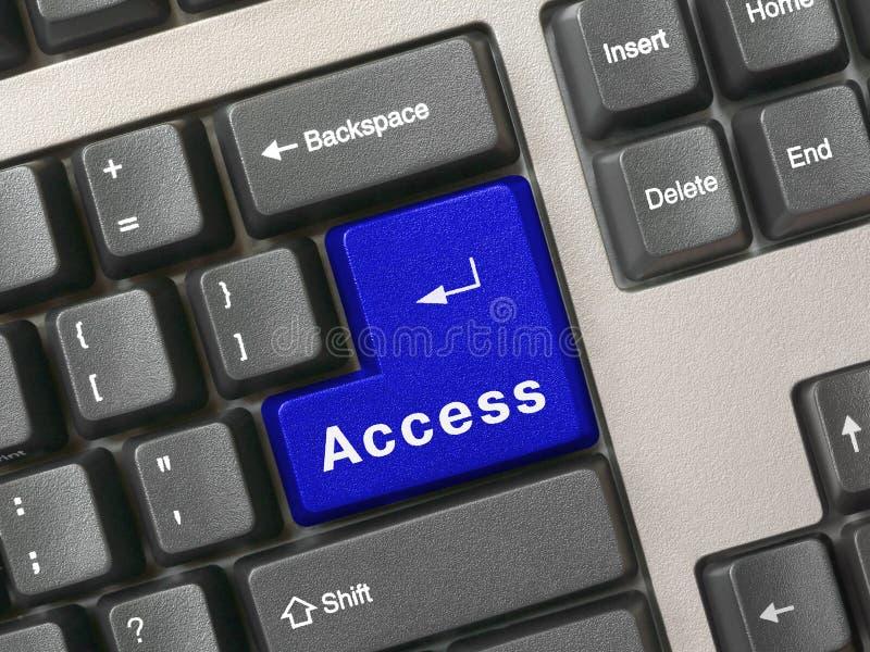 Tastiera - accesso chiave blu fotografia stock
