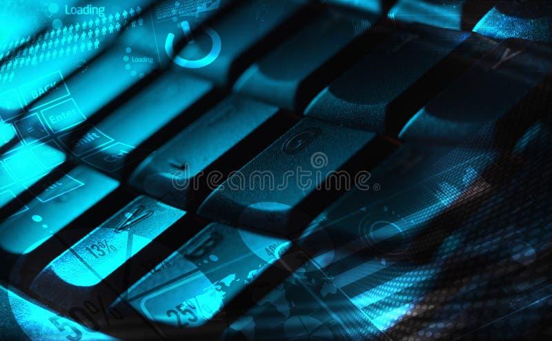 Tastiera con i grafici d'ardore fotografia stock libera da diritti