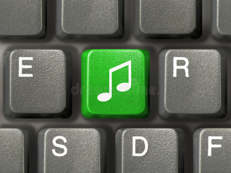 Tastiera con il tasto di musica fotografia stock