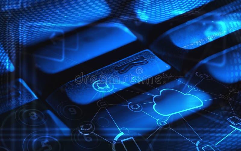 Tastiera con le icone di tecnologia della nube ardente immagine stock libera da diritti