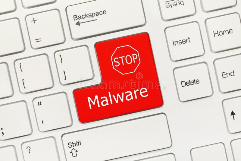 Tastiera concettuale bianca - chiave rossa di malware immagini stock
