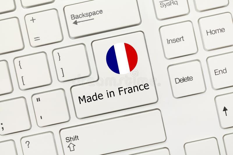 Tastiera concettuale bianca - fatta nella chiave della Francia con la bandiera fotografie stock libere da diritti