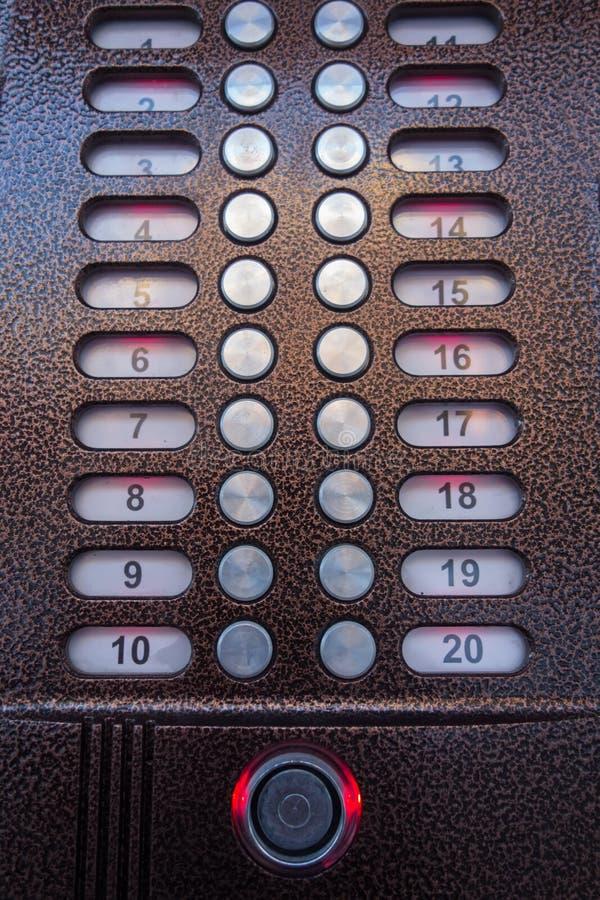 Tastiera del citofono Bottoni del citofono fotografie stock libere da diritti