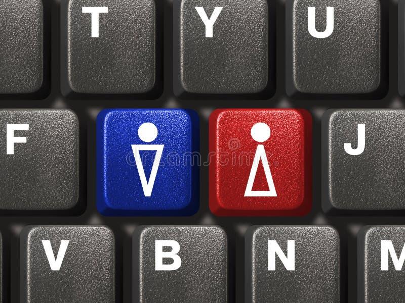 Tastiera del PC con i tasti maschii e femminili immagini stock