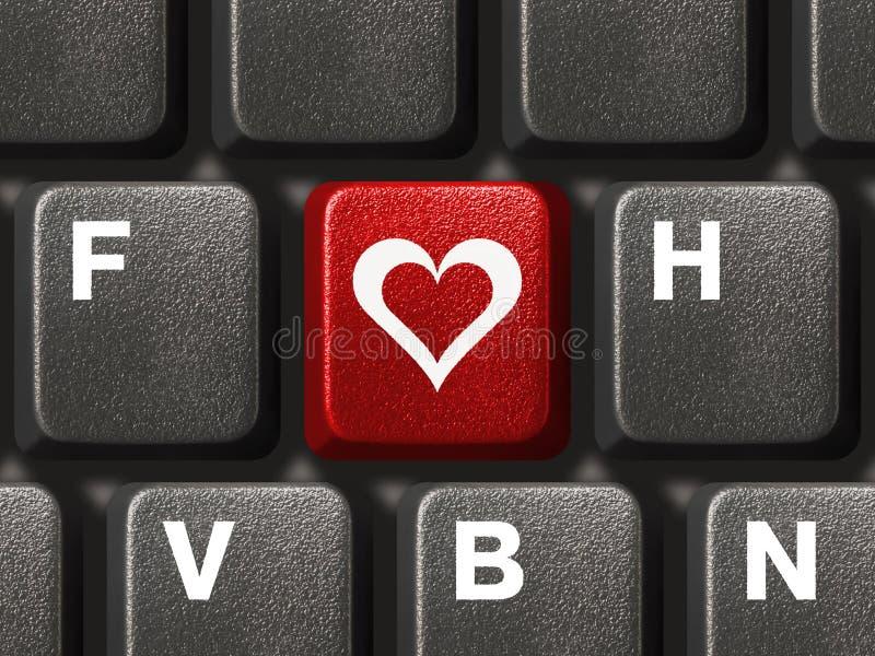 Tastiera del PC con il tasto di amore fotografia stock libera da diritti