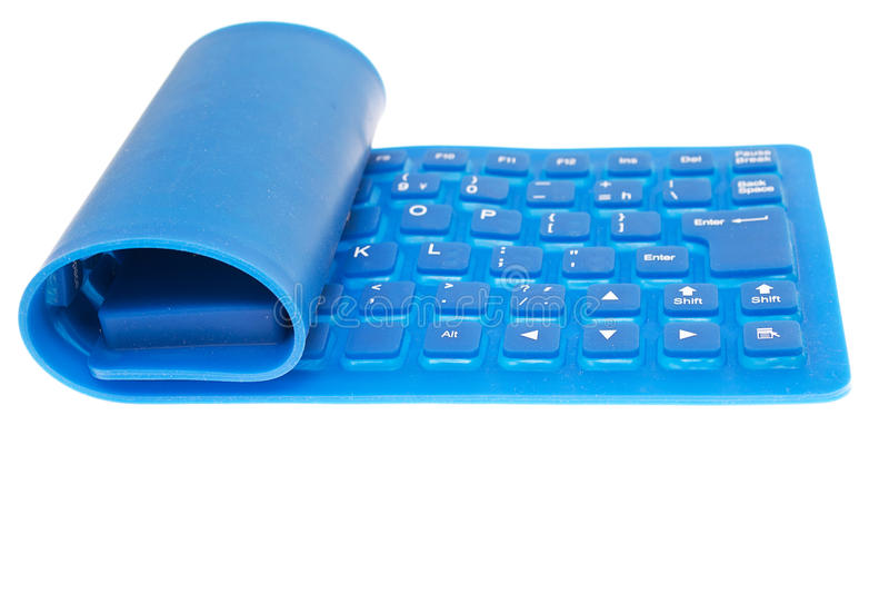 Tastiera di calcolatore flessibile blu isolata fotografie stock