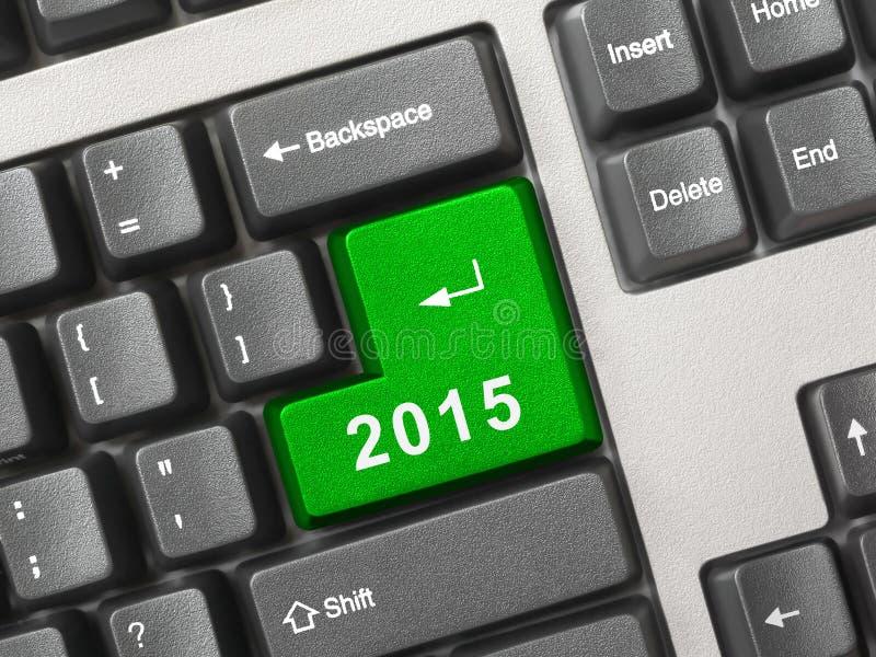 Tastiera di computer con la chiave 2015 fotografie stock
