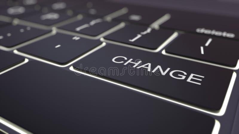 Tastiera di computer nera moderna e chiave luminosa del cambiamento rappresentazione 3d fotografie stock libere da diritti
