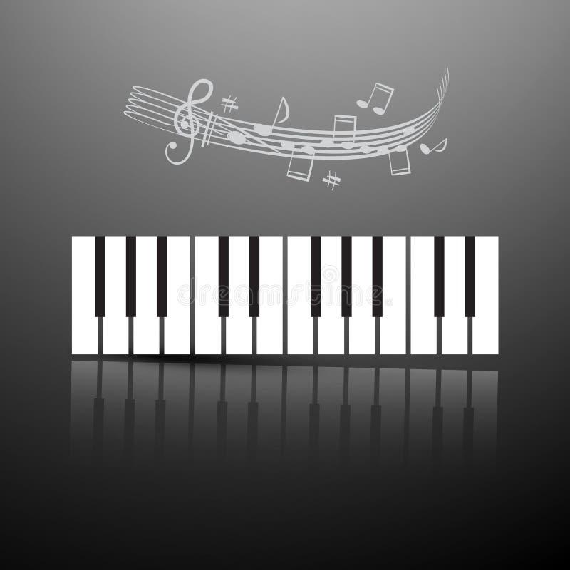 Tastiera di piano con le note ed il personale illustrazione di stock