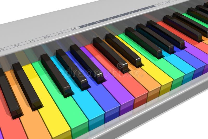 Tastiera di piano del Rainbow illustrazione di stock