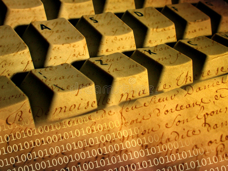 Tastiera e pergamena immagini stock