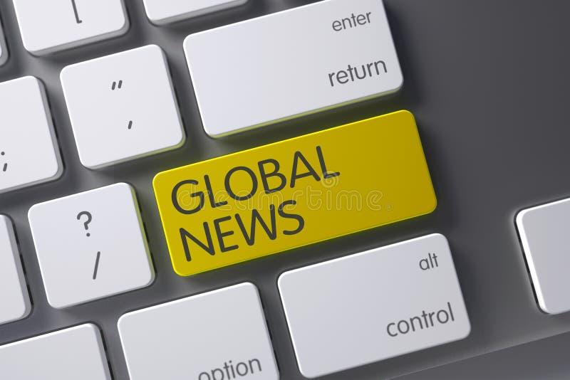Tastiera globale di notizie 3d fotografia stock