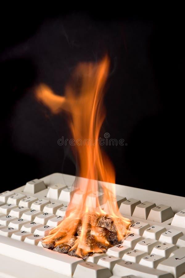 Tastiera su fuoco immagine stock libera da diritti