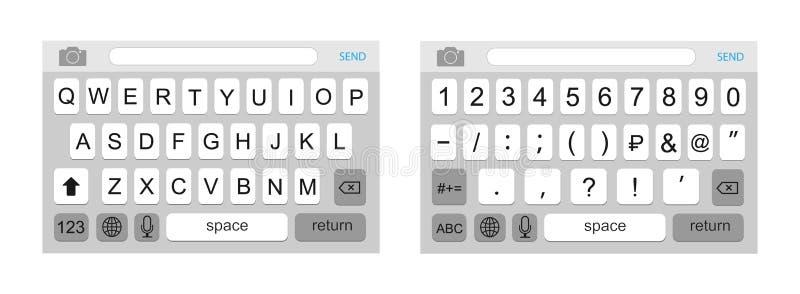 Tastiera su uno smartphone La progettazione della tastiera è alfabetica e digitale royalty illustrazione gratis
