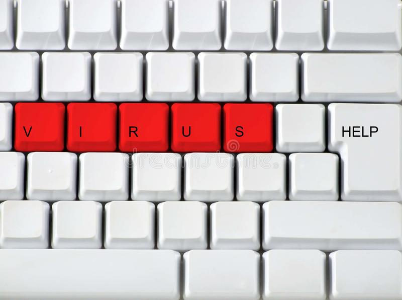 Tastiera - virus chiave rosso, clos fotografie stock