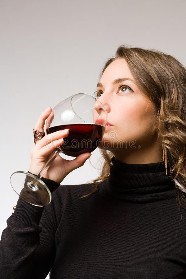 Tasting Dark Red Wine. Stock Images