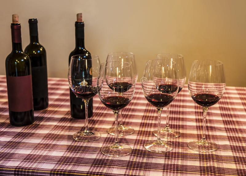 Tasting of red grape wine. stock images