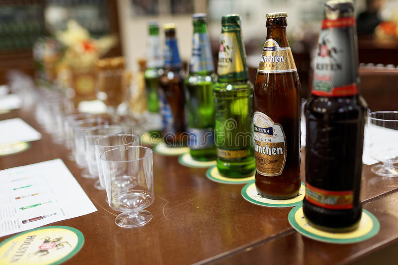 Tasting session at the Baltika - St Petersburg brewery. St. Petersburg, Russia - October 24, 2015: Beer bottles at the table during tasting session in the royalty free stock photography