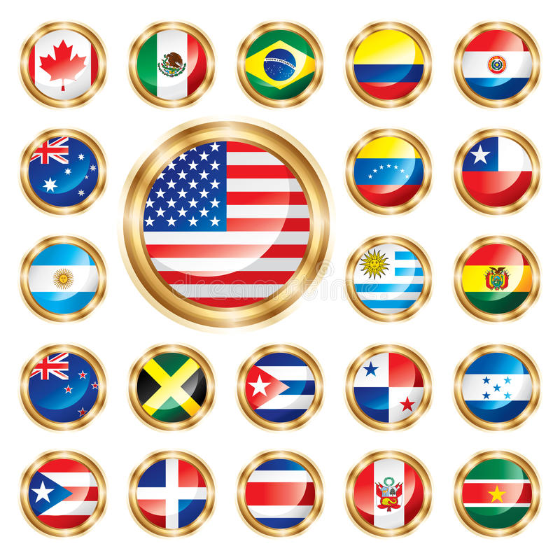 Tasto America & Oceania impostate bandierine illustrazione vettoriale