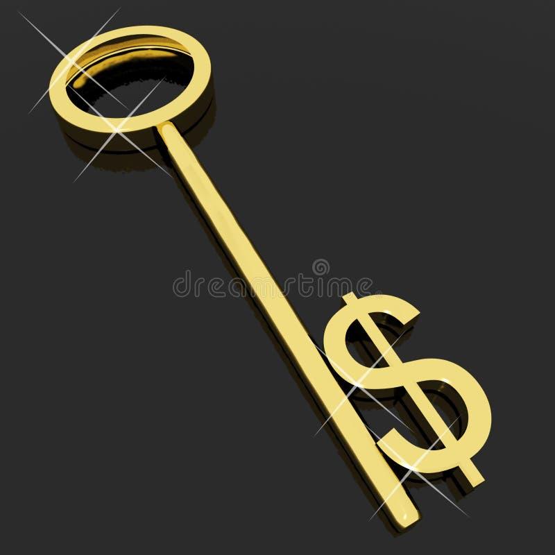 Tasto con il segno del dollaro come simbolo per soldi royalty illustrazione gratis