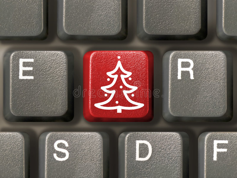 Tasto con l'albero di Natale immagini stock