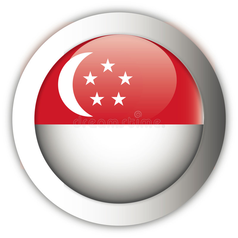 Tasto del Aqua della bandierina di Singapore illustrazione di stock