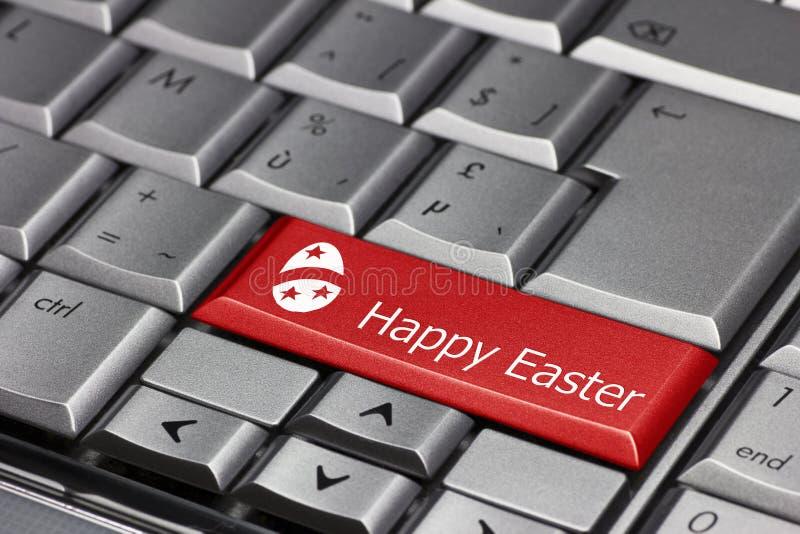 Tasto del computer - Pasqua felice con l'uovo immagine stock libera da diritti