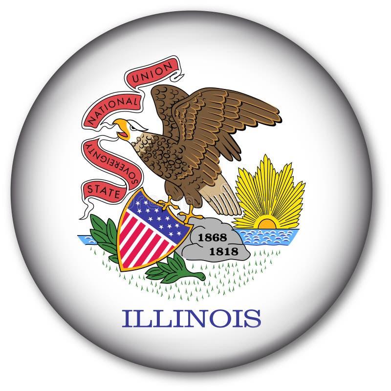 Tasto della bandierina della condizione dell'Illinois illustrazione vettoriale