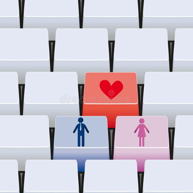 tasto di amore 3d per le coppie royalty illustrazione gratis